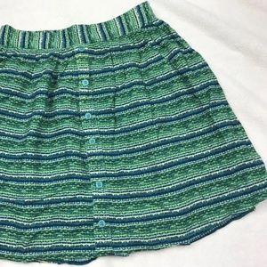 Mossimo Green Geometric Stripe Elastic Waist Skirt